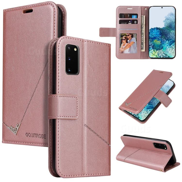 GQ.UTROBE Right Angle Silver Pendant Leather Wallet Phone Case for Samsung Galaxy S20 - Rose Gold