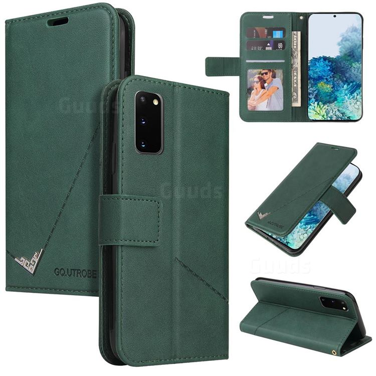 GQ.UTROBE Right Angle Silver Pendant Leather Wallet Phone Case for Samsung Galaxy S20 - Green