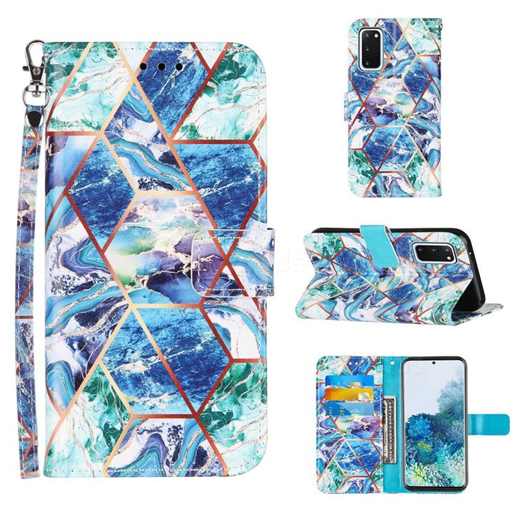 Green and Blue Stitching Color Marble Leather Wallet Case for Samsung Galaxy S20