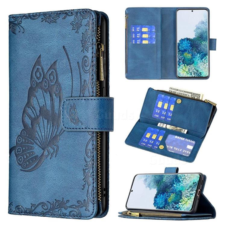 Binfen Color Imprint Vivid Butterfly Buckle Zipper Multi-function Leather Phone Wallet for Samsung Galaxy S20 - Blue