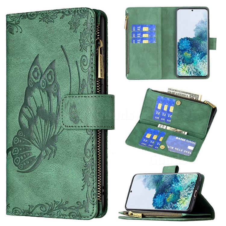Binfen Color Imprint Vivid Butterfly Buckle Zipper Multi-function Leather Phone Wallet for Samsung Galaxy S20 - Green