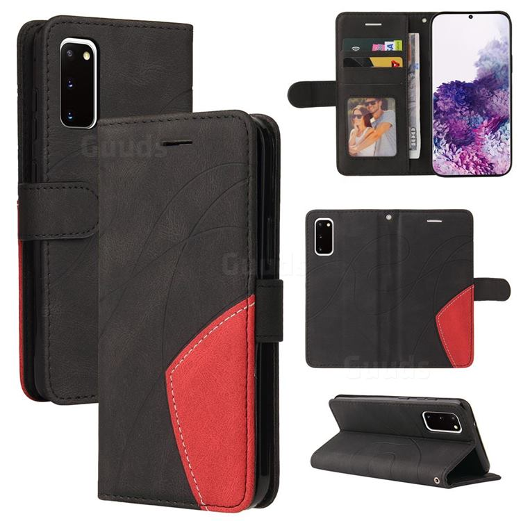 Luxury Two-color Stitching Leather Wallet Case Cover for Samsung Galaxy S20 - Black