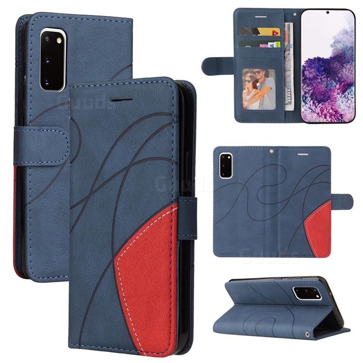 Luxury Two-color Stitching Leather Wallet Case Cover for Samsung Galaxy S20 - Blue
