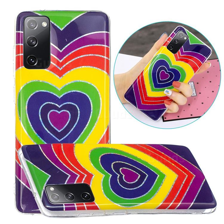 Rainbow Heart Painted Galvanized Electroplating Soft Phone Case Cover for Samsung Galaxy S20 FE / S20 Lite