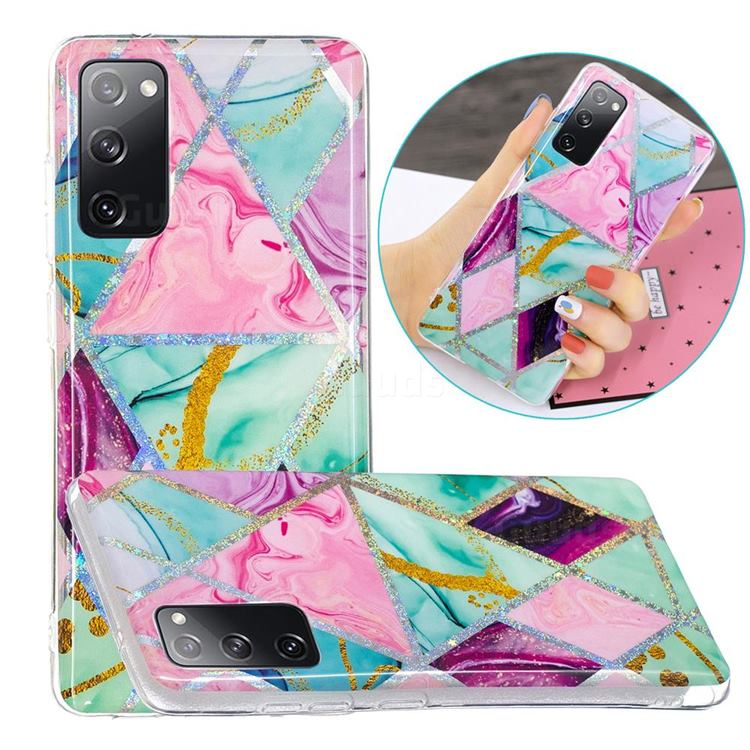 Triangular Marble Painted Galvanized Electroplating Soft Phone Case Cover for Samsung Galaxy S20 FE / S20 Lite