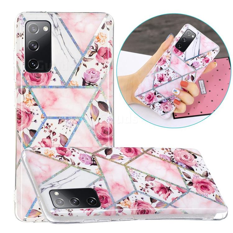 Rose Flower Painted Galvanized Electroplating Soft Phone Case Cover for Samsung Galaxy S20 FE / S20 Lite