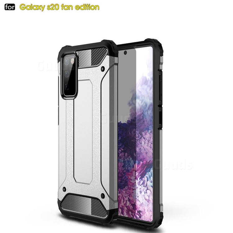 King Kong Armor Premium Shockproof Dual Layer Rugged Hard Cover for Samsung Galaxy S20 FE / S20 Lite - White
