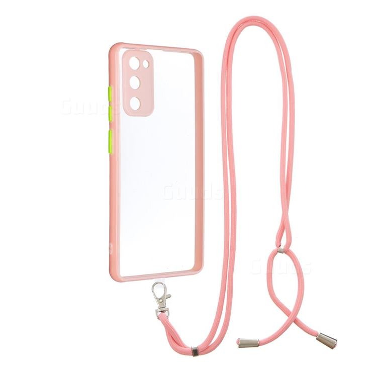 Necklace Cross-body Lanyard Strap Cord Phone Case Cover for Samsung Galaxy S20 FE / S20 Lite - Pink