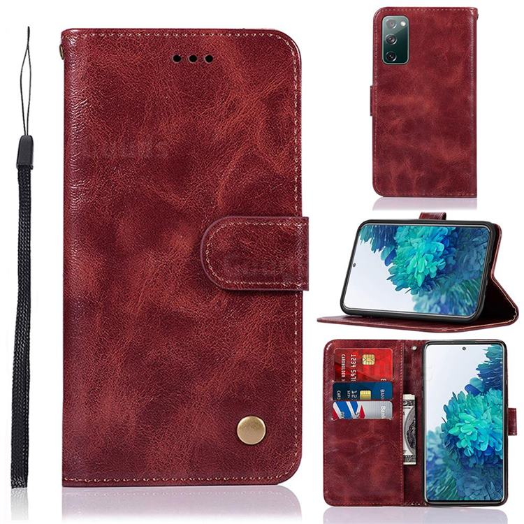 Luxury Retro Leather Wallet Case for Samsung Galaxy S20 FE / S20 Lite - Wine Red