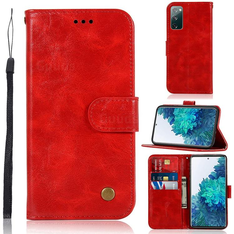 Luxury Retro Leather Wallet Case for Samsung Galaxy S20 FE / S20 Lite - Red
