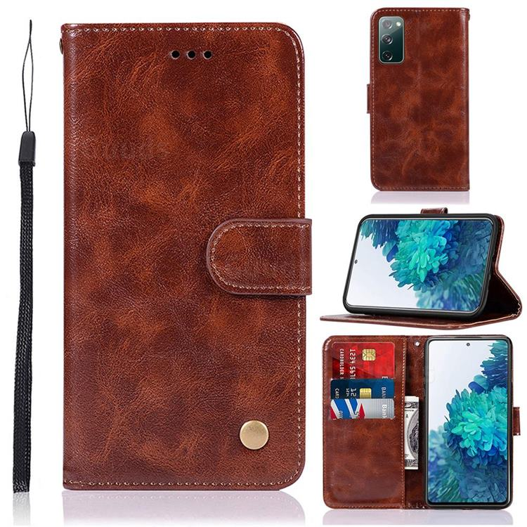 Luxury Retro Leather Wallet Case for Samsung Galaxy S20 FE / S20 Lite - Brown
