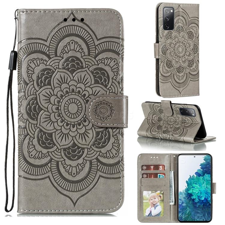 Intricate Embossing Datura Solar Leather Wallet Case for Samsung Galaxy S20 FE / S20 Lite - Gray