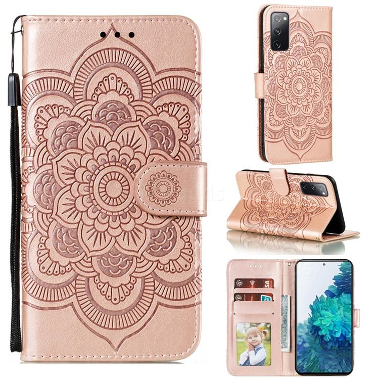 Intricate Embossing Datura Solar Leather Wallet Case for Samsung Galaxy S20 FE / S20 Lite - Rose Gold