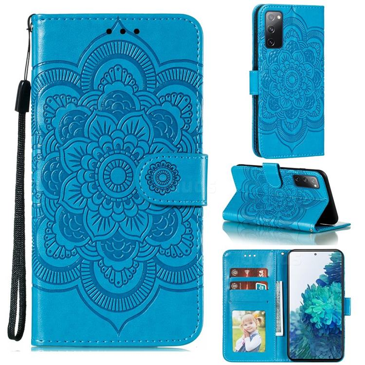 Intricate Embossing Datura Solar Leather Wallet Case for Samsung Galaxy S20 FE / S20 Lite - Blue