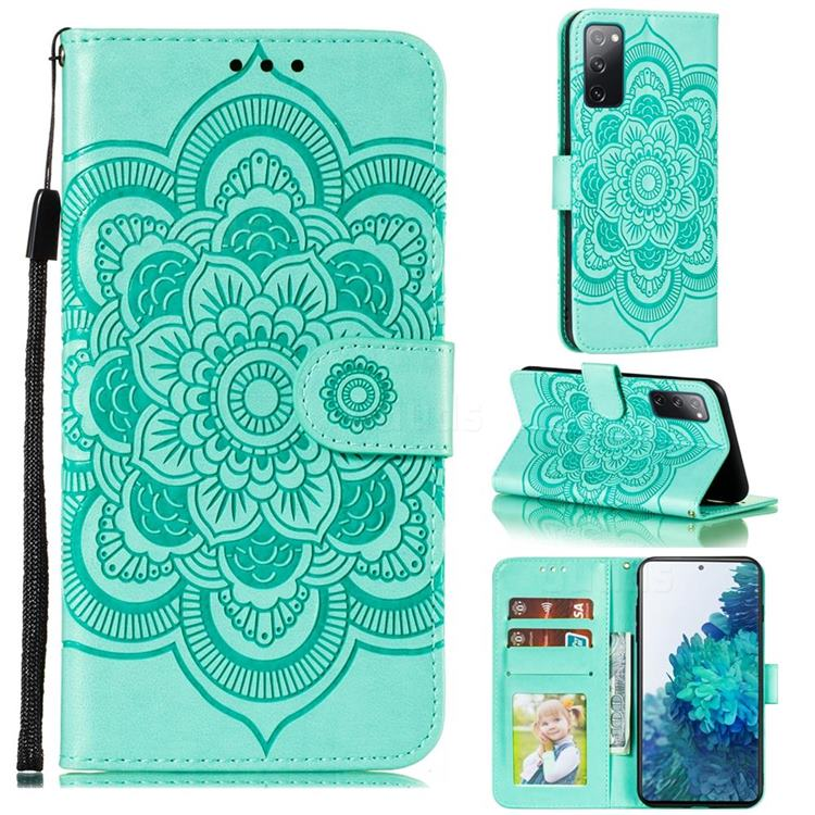 Intricate Embossing Datura Solar Leather Wallet Case for Samsung Galaxy S20 FE / S20 Lite - Green