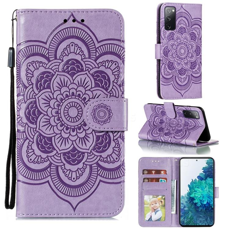 Intricate Embossing Datura Solar Leather Wallet Case for Samsung Galaxy S20 FE / S20 Lite - Purple