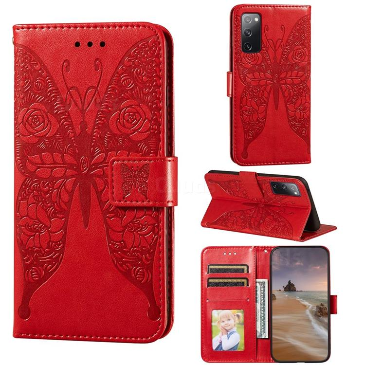 Intricate Embossing Rose Flower Butterfly Leather Wallet Case for Samsung Galaxy S20 FE / S20 Lite - Red