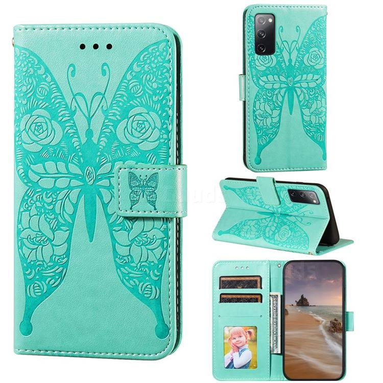 Intricate Embossing Rose Flower Butterfly Leather Wallet Case for Samsung Galaxy S20 FE / S20 Lite - Green