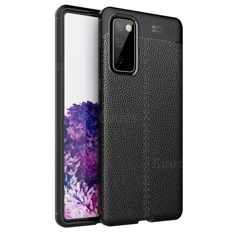 Luxury Auto Focus Litchi Texture Silicone TPU Back Cover for Samsung Galaxy S20 FE / S20 Lite - Black