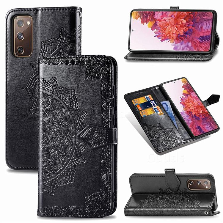 Embossing Imprint Mandala Flower Leather Wallet Case for Samsung Galaxy S20 FE / S20 Lite - Black