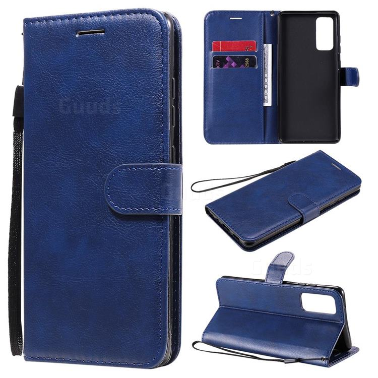 Retro Greek Classic Smooth PU Leather Wallet Phone Case for Samsung Galaxy S20 FE / S20 Lite - Blue