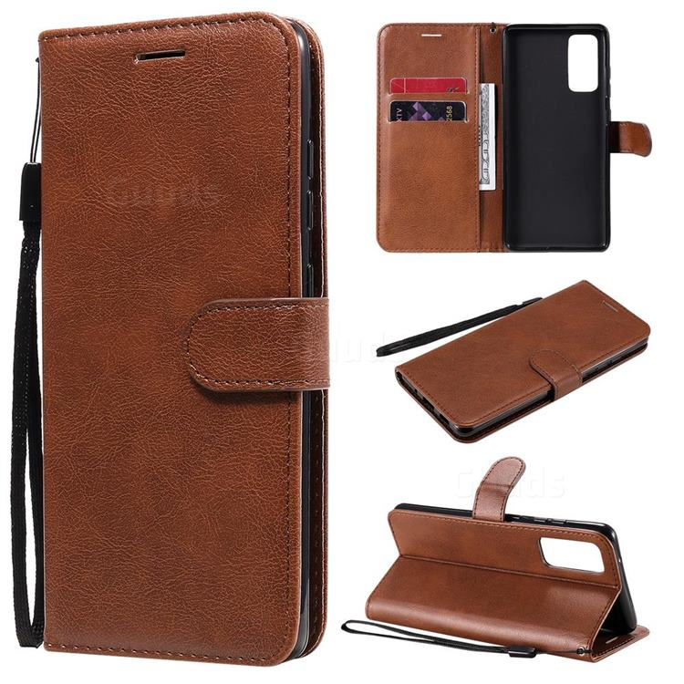 Retro Greek Classic Smooth PU Leather Wallet Phone Case for Samsung Galaxy S20 FE / S20 Lite - Brown