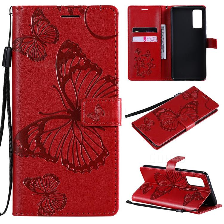 Embossing 3D Butterfly Leather Wallet Case for Samsung Galaxy S20 FE / S20 Lite - Red