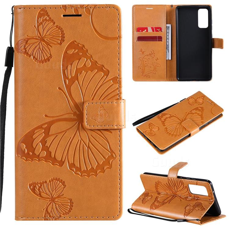Embossing 3D Butterfly Leather Wallet Case for Samsung Galaxy S20 FE / S20 Lite - Yellow