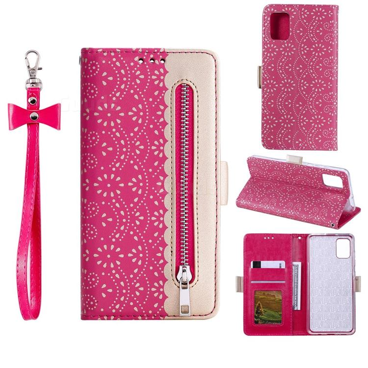 Luxury Lace Zipper Stitching Leather Phone Wallet Case for Samsung Galaxy S20 FE / S20 Lite - Rose