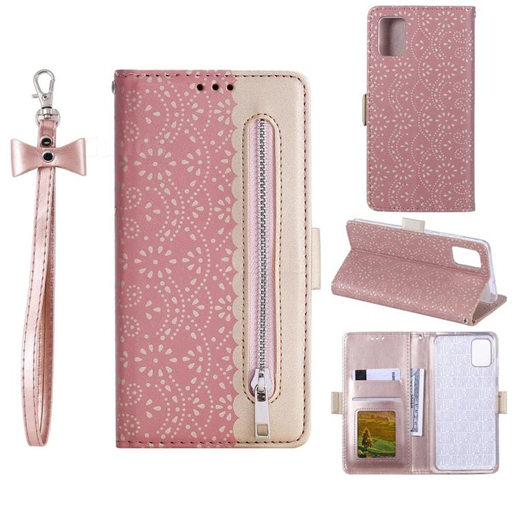 Luxury Lace Zipper Stitching Leather Phone Wallet Case for Samsung Galaxy S20 FE / S20 Lite - Pink