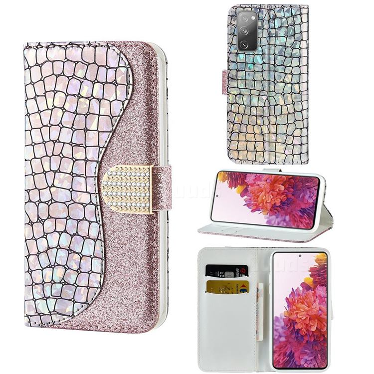 Glitter Diamond Buckle Laser Stitching Leather Wallet Phone Case for Samsung Galaxy S20 FE / S20 Lite - Pink