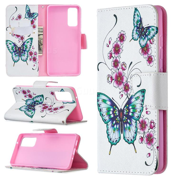 Peach Butterflies Leather Wallet Case for Samsung Galaxy S20 FE / S20 Lite