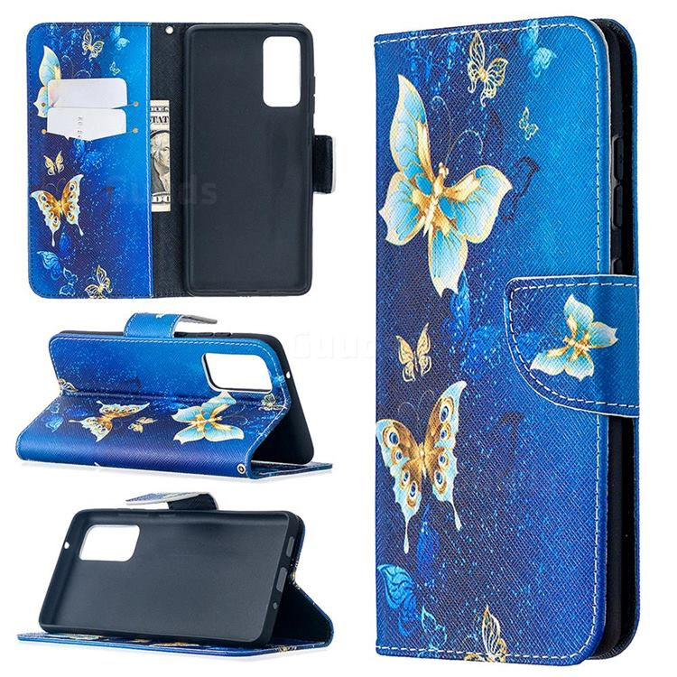 Golden Butterflies Leather Wallet Case for Samsung Galaxy S20 FE / S20 Lite