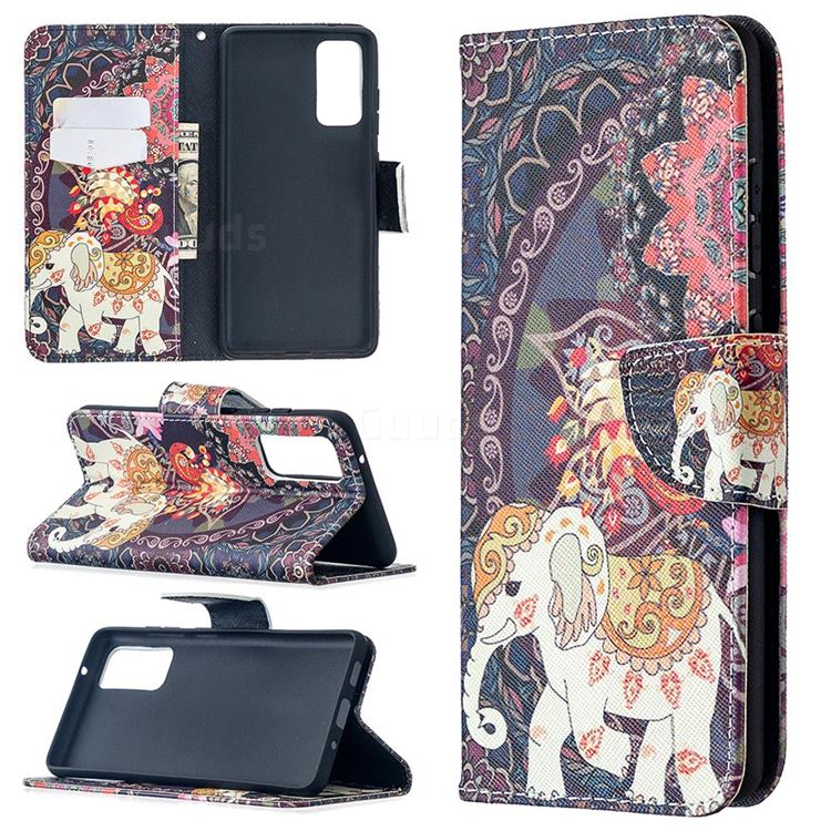 Totem Flower Elephant Leather Wallet Case for Samsung Galaxy S20 FE / S20 Lite