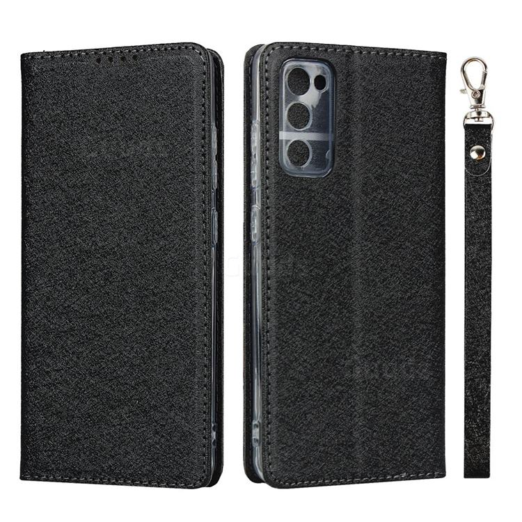 Ultra Slim Magnetic Automatic Suction Silk Lanyard Leather Flip Cover for Samsung Galaxy S20 FE / S20 Lite - Black