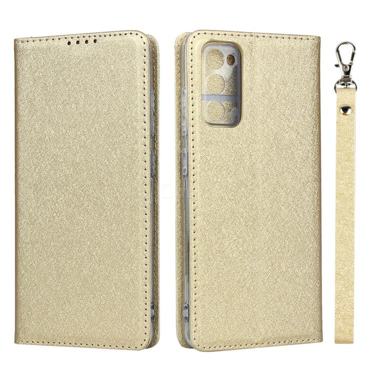 Ultra Slim Magnetic Automatic Suction Silk Lanyard Leather Flip Cover for Samsung Galaxy S20 FE / S20 Lite - Golden
