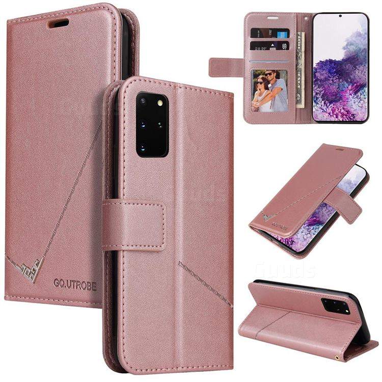 GQ.UTROBE Right Angle Silver Pendant Leather Wallet Phone Case for Samsung Galaxy S20 FE / S20 Lite - Rose Gold
