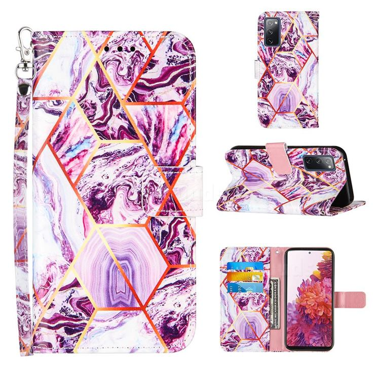 Dream Purple Stitching Color Marble Leather Wallet Case for Samsung Galaxy S20 FE / S20 Lite