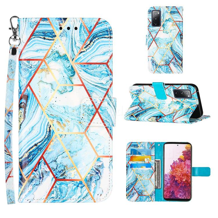 Lake Blue Stitching Color Marble Leather Wallet Case for Samsung Galaxy S20 FE / S20 Lite