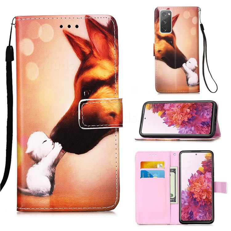 Hound Kiss Matte Leather Wallet Phone Case for Samsung Galaxy S20 FE / S20 Lite