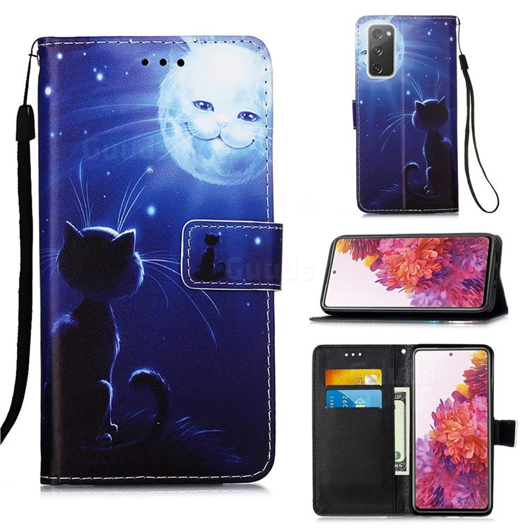 Cat and Moon Matte Leather Wallet Phone Case for Samsung Galaxy S20 FE / S20 Lite