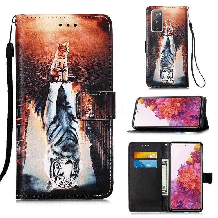 Cat and Tiger Matte Leather Wallet Phone Case for Samsung Galaxy S20 FE / S20 Lite
