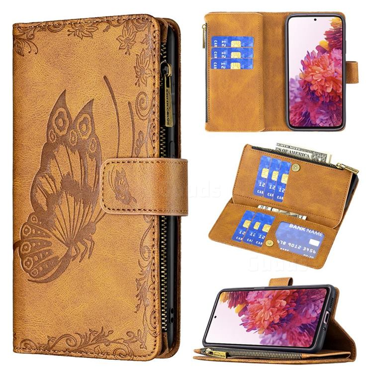 Binfen Color Imprint Vivid Butterfly Buckle Zipper Multi-function Leather Phone Wallet for Samsung Galaxy S20 FE / S20 Lite - Brown