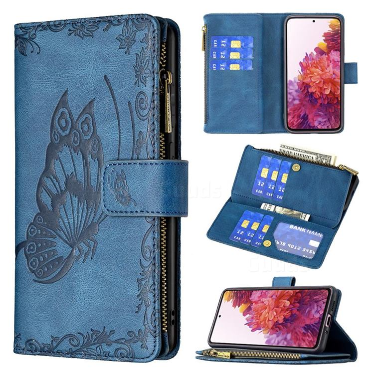 Binfen Color Imprint Vivid Butterfly Buckle Zipper Multi-function Leather Phone Wallet for Samsung Galaxy S20 FE / S20 Lite - Blue