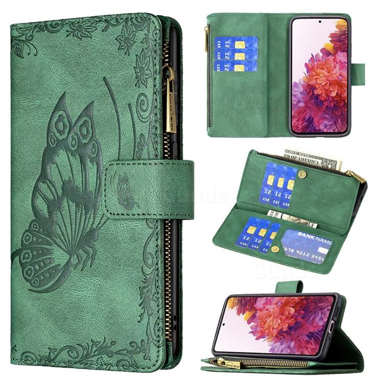 Binfen Color Imprint Vivid Butterfly Buckle Zipper Multi-function Leather Phone Wallet for Samsung Galaxy S20 FE / S20 Lite - Green