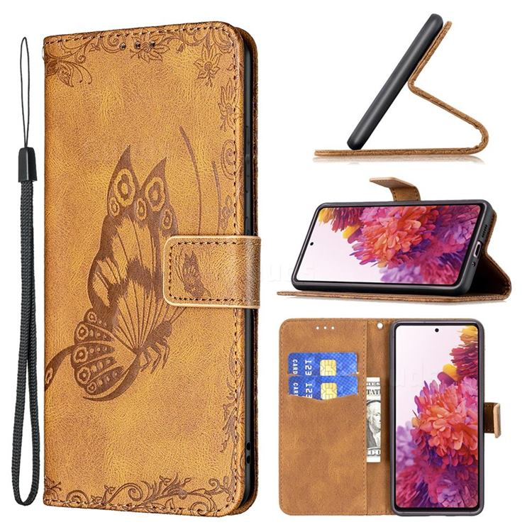 Binfen Color Imprint Vivid Butterfly Leather Wallet Case for Samsung Galaxy S20 FE / S20 Lite - Brown