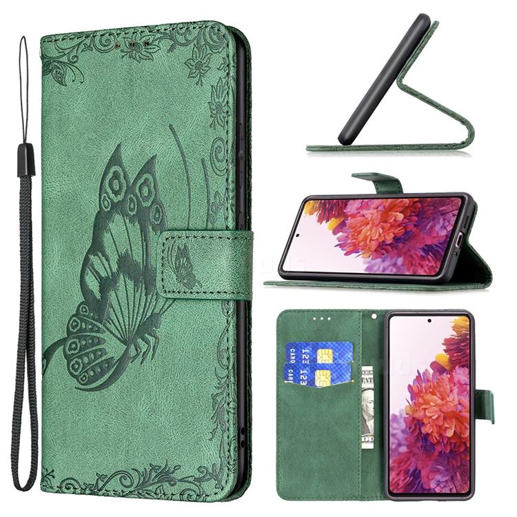 Binfen Color Imprint Vivid Butterfly Leather Wallet Case for Samsung Galaxy S20 FE / S20 Lite - Green