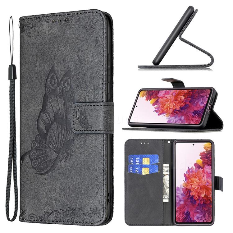Binfen Color Imprint Vivid Butterfly Leather Wallet Case for Samsung Galaxy S20 FE / S20 Lite - Black