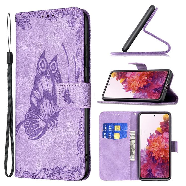 Binfen Color Imprint Vivid Butterfly Leather Wallet Case for Samsung Galaxy S20 FE / S20 Lite - Purple