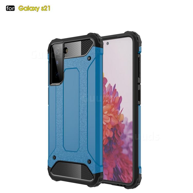 King Kong Armor Premium Shockproof Dual Layer Rugged Hard Cover for Samsung Galaxy S21 - Sky Blue